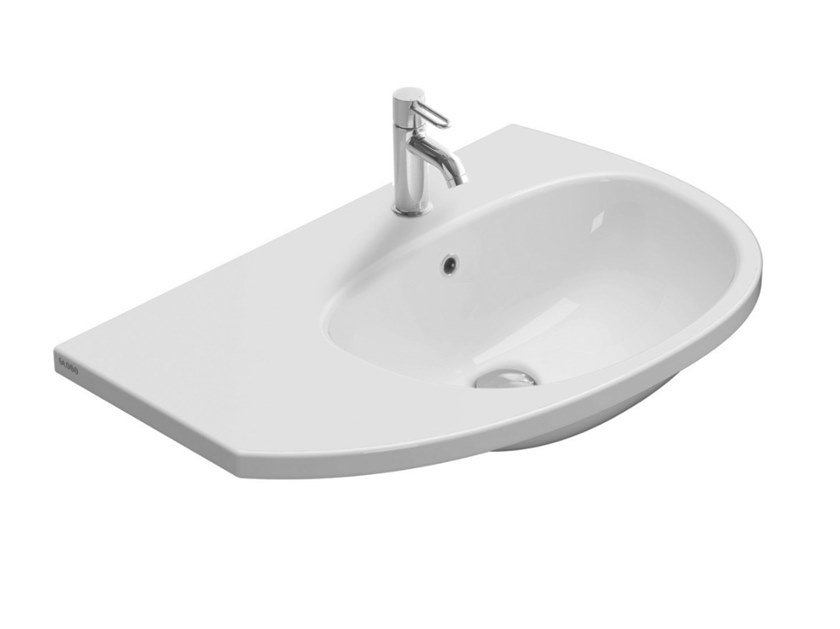 Oval wall-mounted ceramic washbasin GRACE | Washbasin by Ceramica Globo