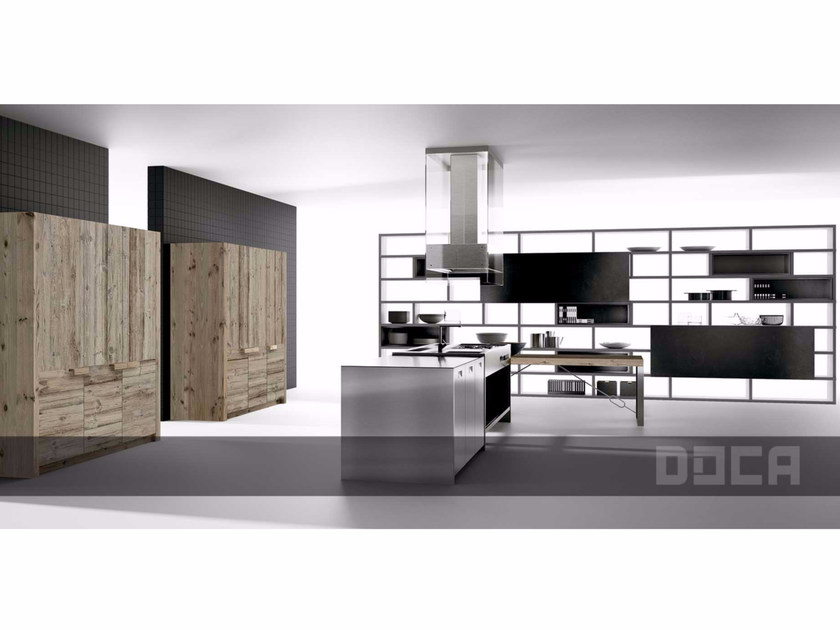 Steel and wood kitchen with island GRAIN VIEJO NATURAL / FACTORY 2 by Doca