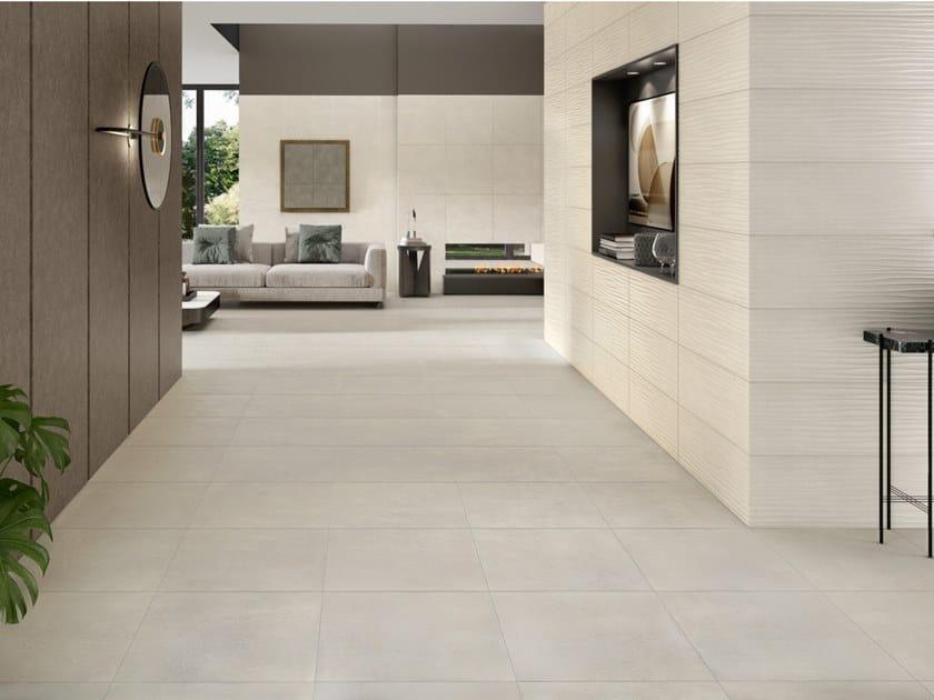 Pavimento/rivestimento in ceramica a pasta bianca effetto cemento GRAND CONCRETE by RECER