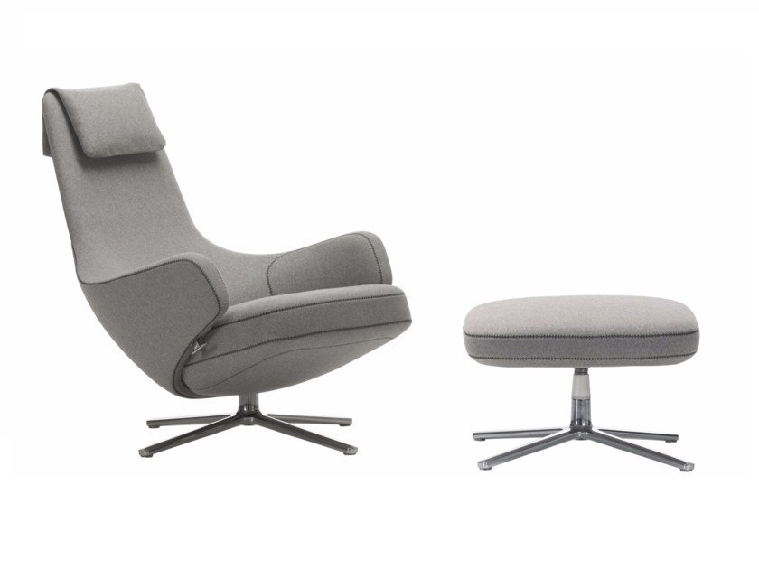 Swivel upholstered recliner armchair REPOS & OTTOMAN by Vitra