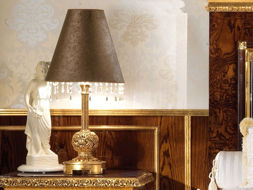 Imitation leather table lamp with crystals GRAND ROYAL | Table lamp with crystals by A.R. Arredamenti