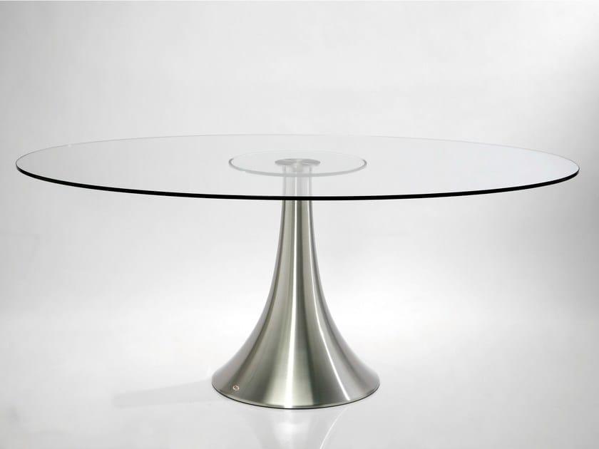 Round glass and aluminium table GRANDE POSSIBILITA by KARE-DESIGN