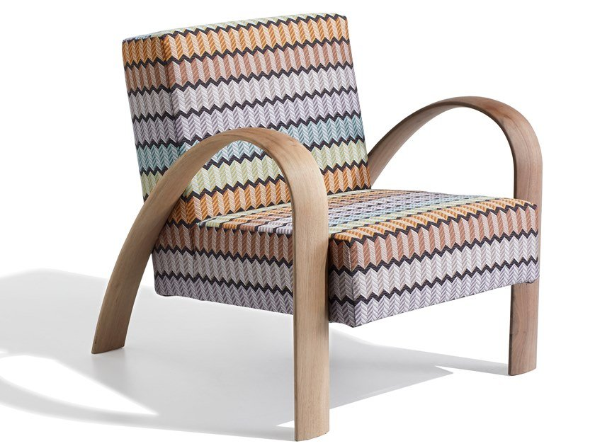 Fabric armchair with removable cover with armrests GRANDMA by MissoniHome