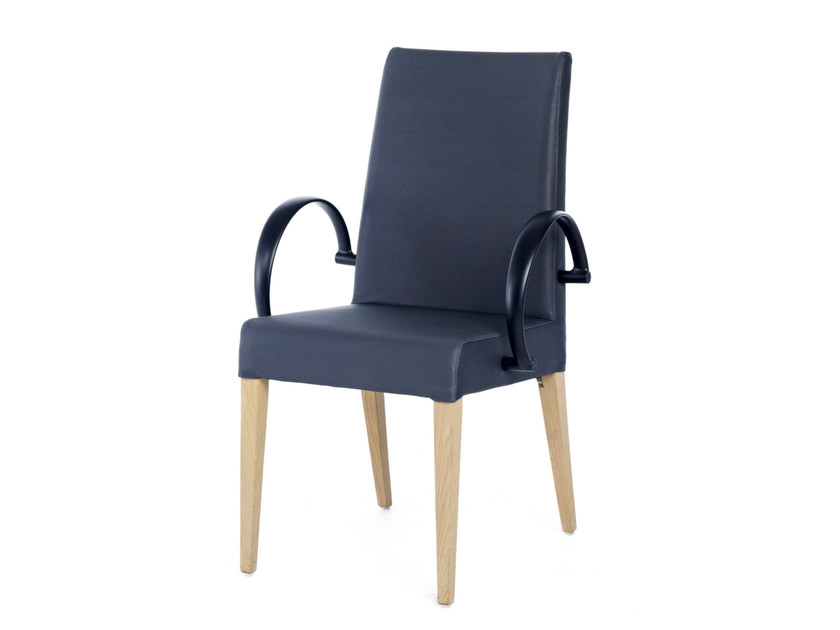 Upholstered leather chair with armrests GRANGALA + A ALU by Z-Editions