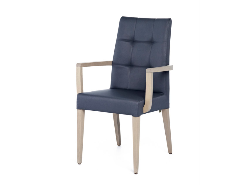 Upholstered leather chair with armrests GRANGALA + A by Z-Editions