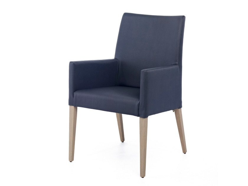 Upholstered leather easy chair with armrests GRANGALA TUB by Z-Editions