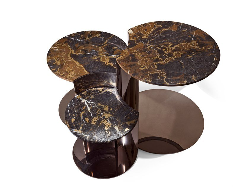 Round marble coffee table for living room GRANGER   Marble coffee table by Visionnaire