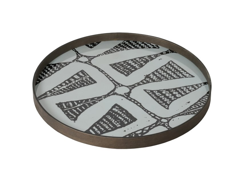 Round glass tray GRAPHITE BOHEMIAN by Notre Monde