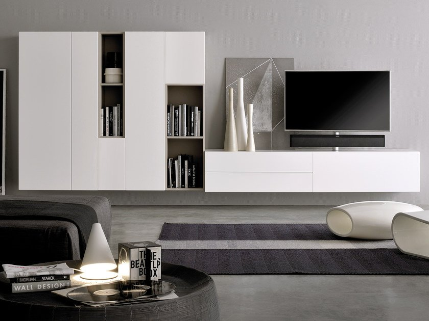 Sectional TV wall system GRAPHOS WIDE | Storage wall by Silenia