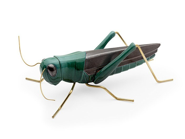 Ceramic decorative object GRASSHOPPER GREEN by Mambo Unlimited Ideas