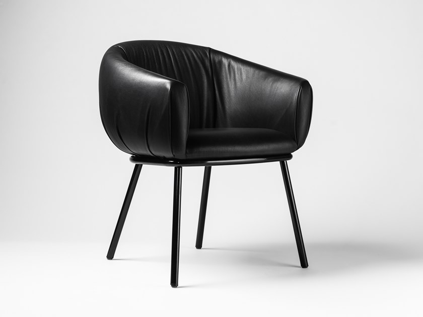 Upholstered leather chair GRASSO | Leather chair by BD Barcelona Design