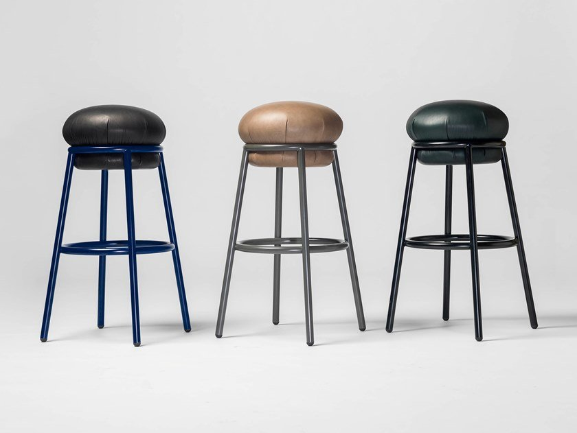 High upholstered leather stool GRASSO | Leather stool by BD Barcelona Design
