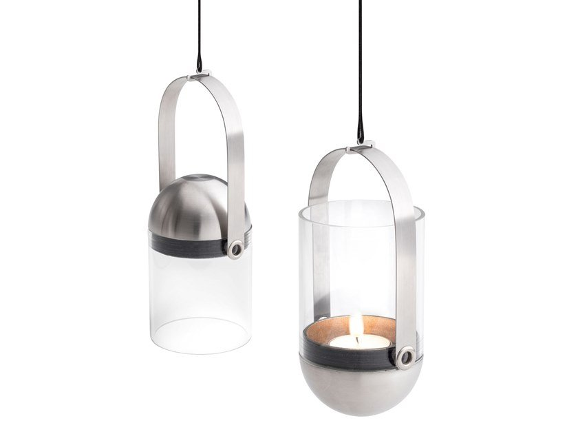 Glass and metal pendant candle holder GRAVITY CANDLE HANGER by höfats