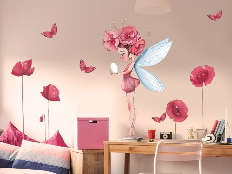 Kids wall sticker with floral pattern GREAT FAIRY PETRONILLE by ACTE-DECO