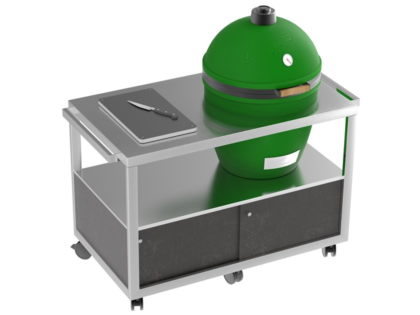 Mobile cart with Big Green Egg Green egg cart by La tavola