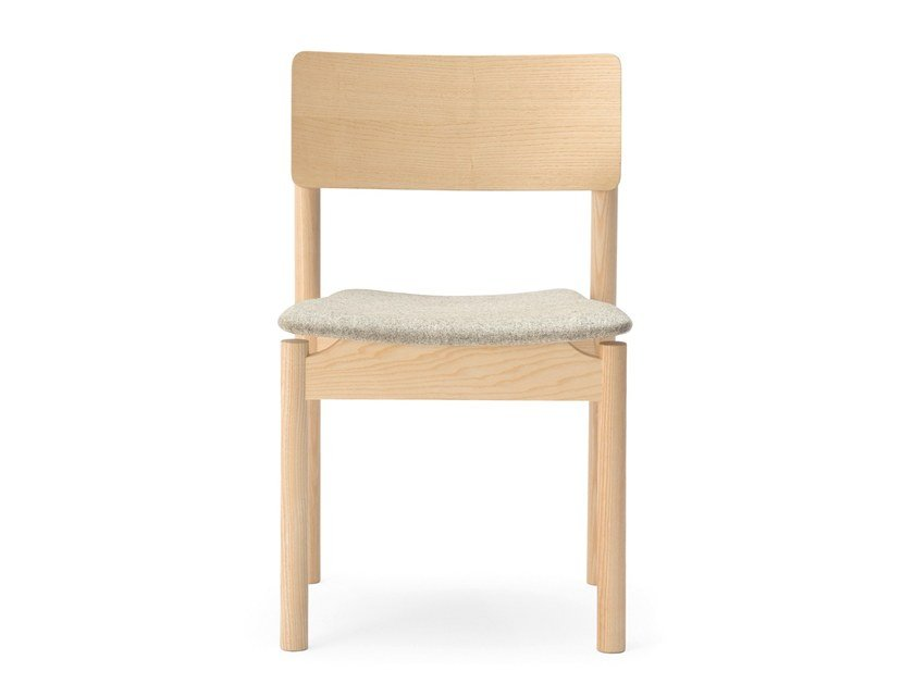Upholstered stackable open back wooden chair GREEN | Upholstered chair by BILLIANI