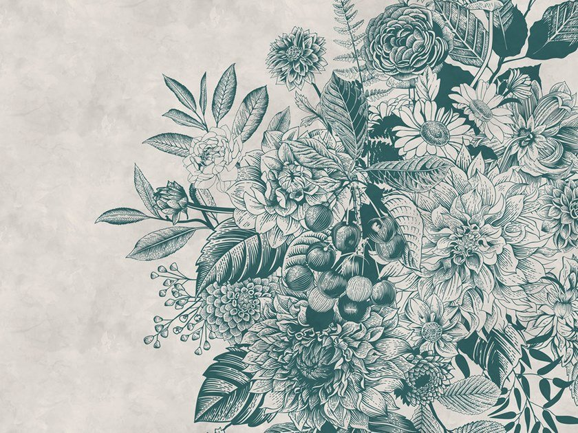Digital printing wallpaper with floral pattern GREENERY by Architects Paper
