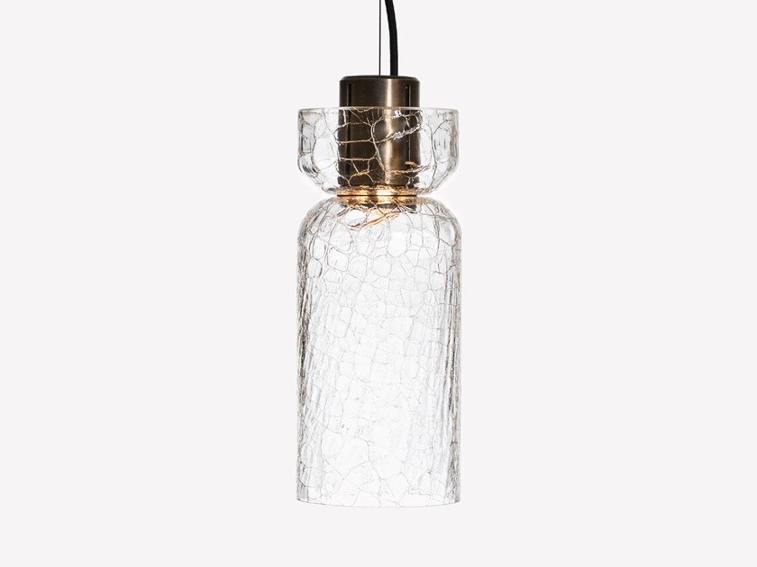 Lampada a sospensione a LED in vetro soffiato GREENWAY CRACKLE S3 by ADesignStudio