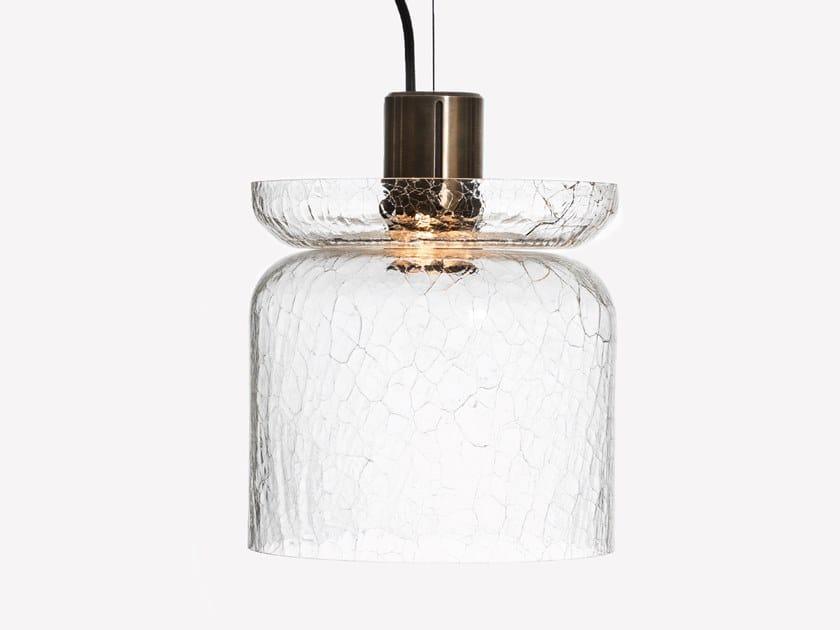 Lampada a sospensione a LED in vetro soffiato GREENWAY CRACKLE S5 by ADesignStudio