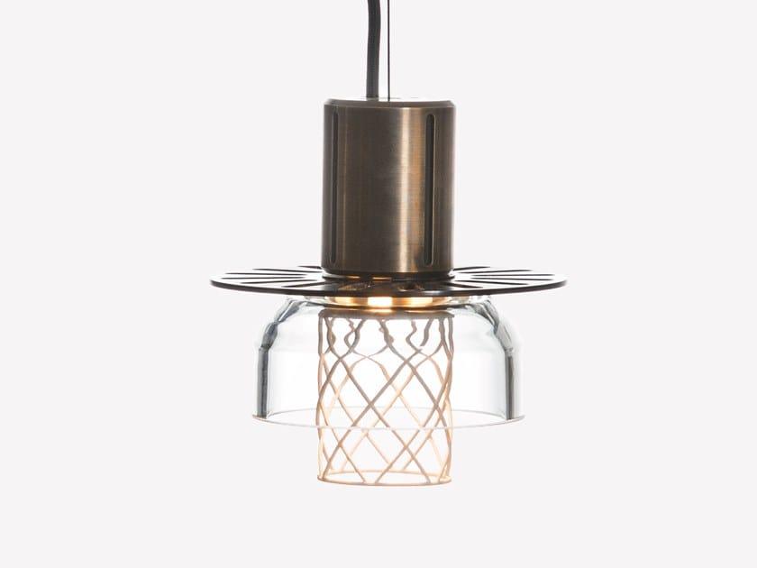 Lampada a sospensione a LED in ottone e vetro soffiato GREENWAY S1 by ADesignStudio