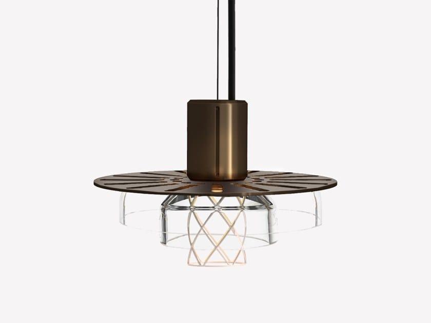 Lampada a sospensione a LED in ottone e vetro soffiato GREENWAY S3 by ADesignStudio