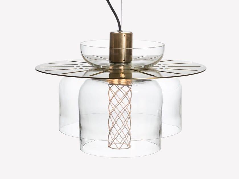 Lampada a sospensione a LED in ottone e vetro soffiato GREENWAY S6 by ADesignStudio
