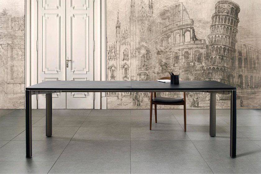 Rectangular steel and leather table GREGORIO | Leather table by mg12