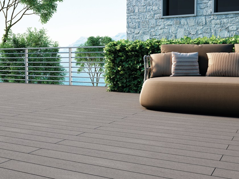 Composite material outdoor floor tiles with wood effect EXTERNO GREY by Woodco