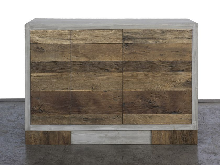 Reclaimed wood highboard GRISEO | Highboard with drawers by A&B Rosa dei Legni