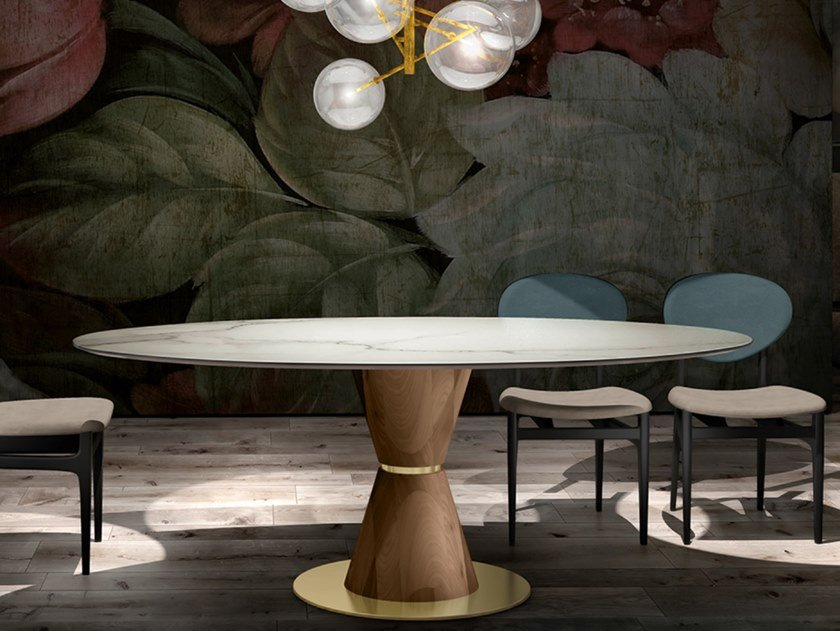 Round marble table GROOVE | Marble table by EXENZA