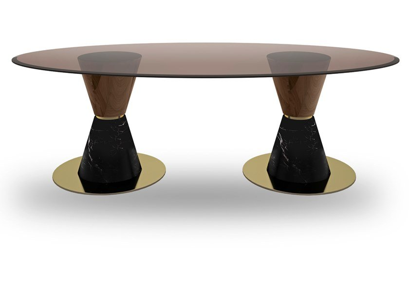Oval marble, wood and glass dining table GROOVE TWO | Oval table by EXENZA