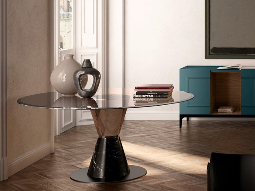 Round marble, wood and glass table GROOVE | Table by EXENZA