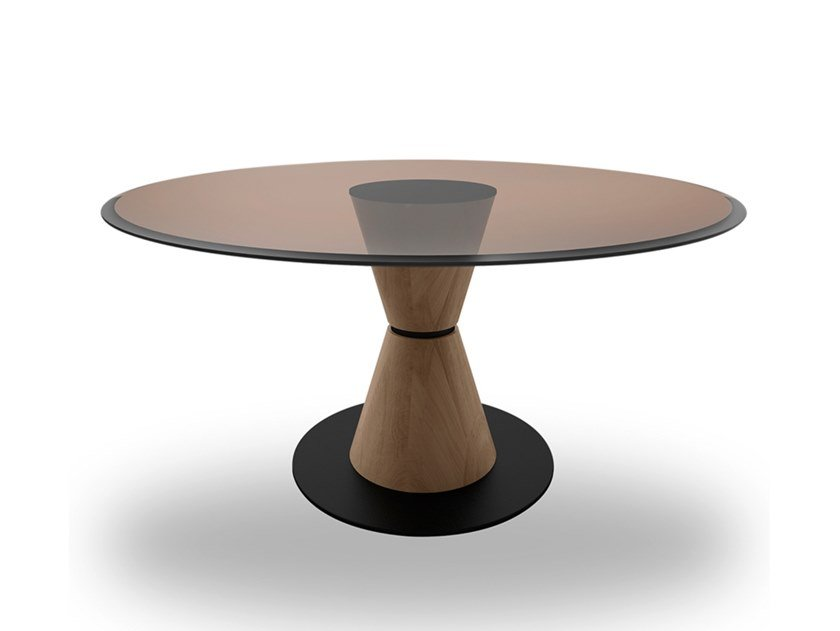 Round wood and glass table GROOVE | Wood and glass table by EXENZA