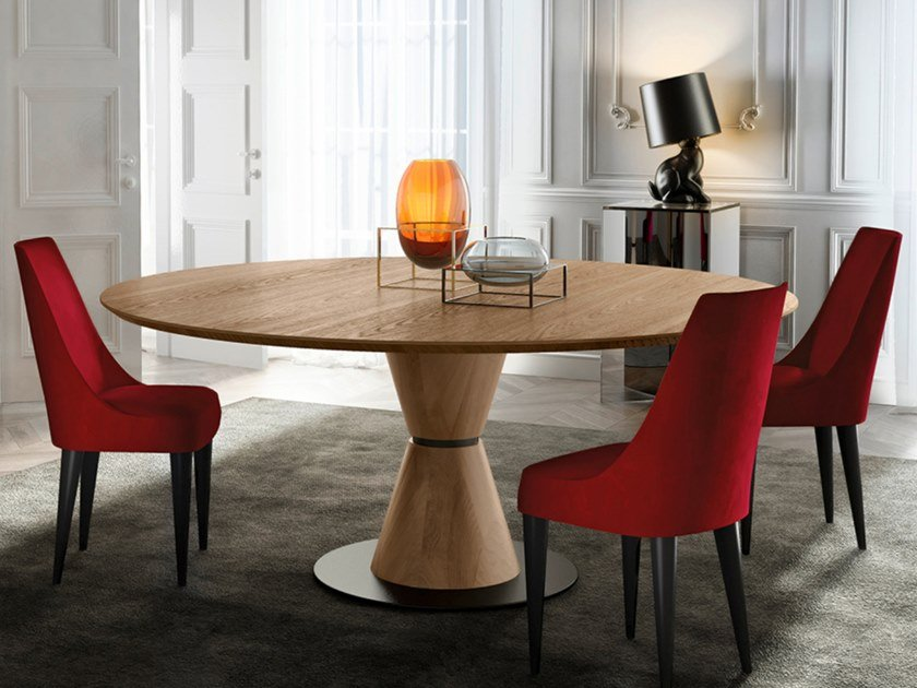 Round walnut table GROOVE | Wooden table by EXENZA