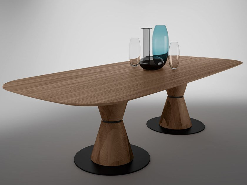 Oval walnut table GROOVE TWO | Wooden table by EXENZA