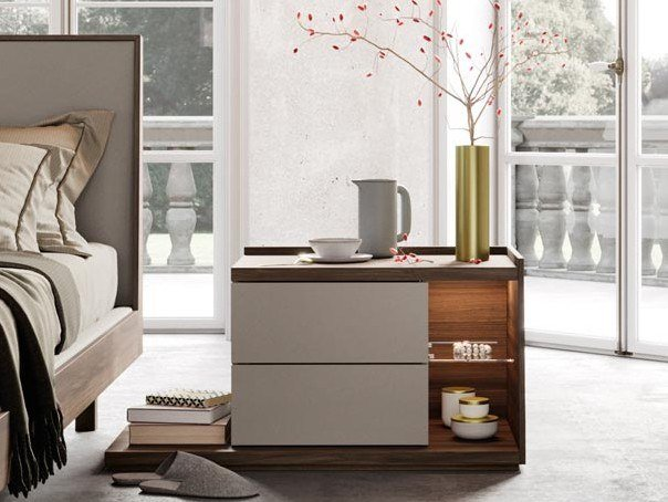 Rectangular wooden bedside table with built-in lights GRUPPO KYOTO   Bedside table by Kico