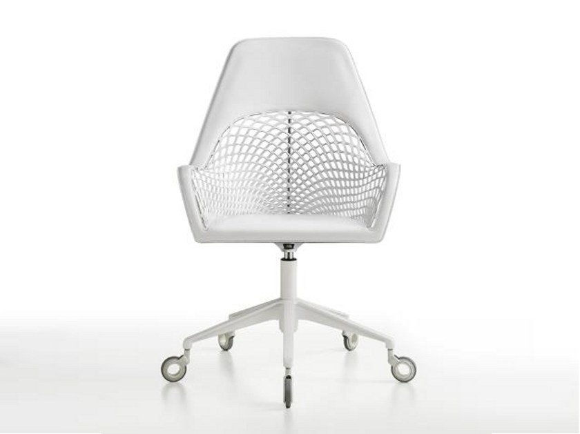 Tanned leather task chair with 5-Spoke base with casters GUAPA DPA by Midj