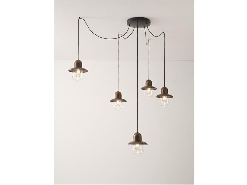 Brass pendant lamp GUINGUETTE - ROUND MULTIPLE CANOPY by Aldo Bernardi