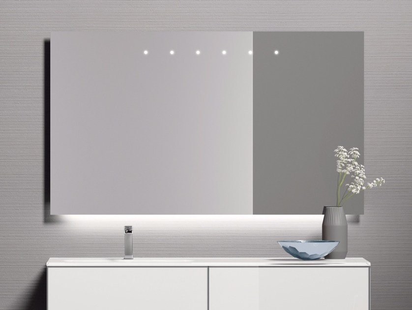 Wall-mounted bathroom mirror with integrated lighting H24 | Bathroom mirror by Q'in