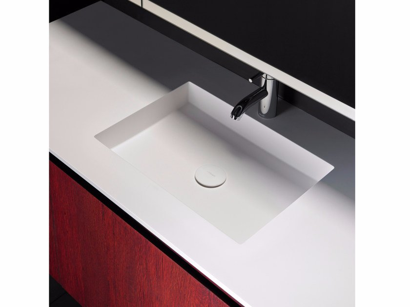 Solid Surface washbasin with integrated countertop H9 | Washbasin with integrated countertop by INBANI