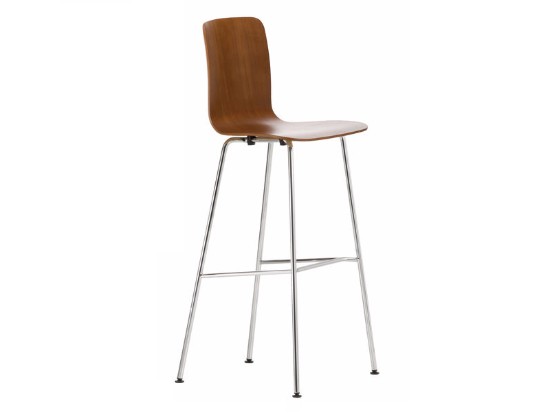 Sgabello alto da bar in legno hal ply stool high vitra