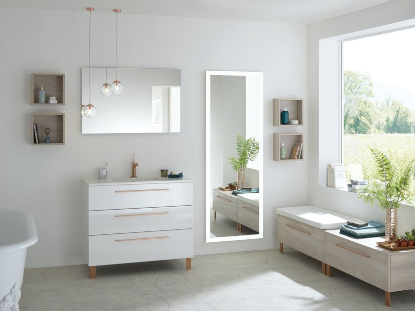 Floor-standing lacquered vanity unit with drawers HALO by SANIJURA