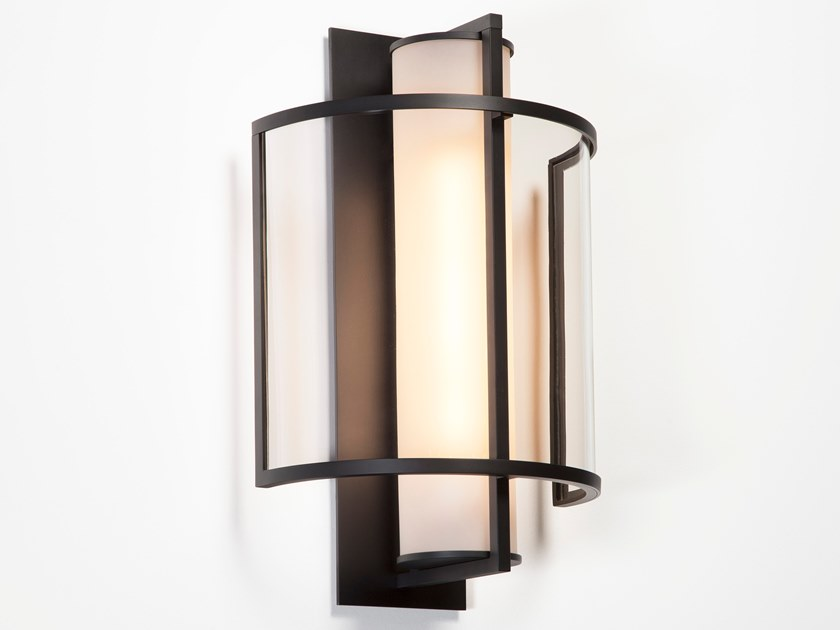 Direct light glass and steel wall light HALVDEL by Kevin Reilly Collection