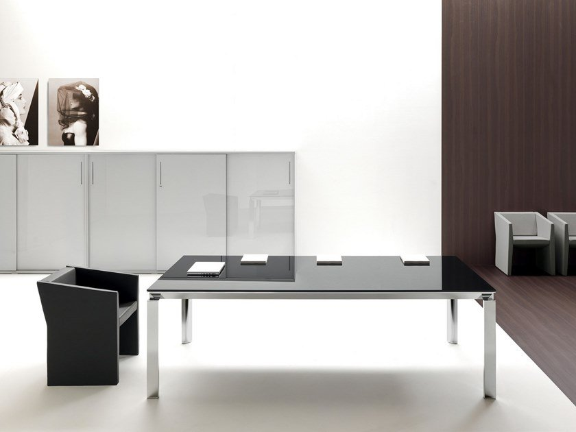 Rectangular glass meeting table HAN | Glass meeting table by Martex