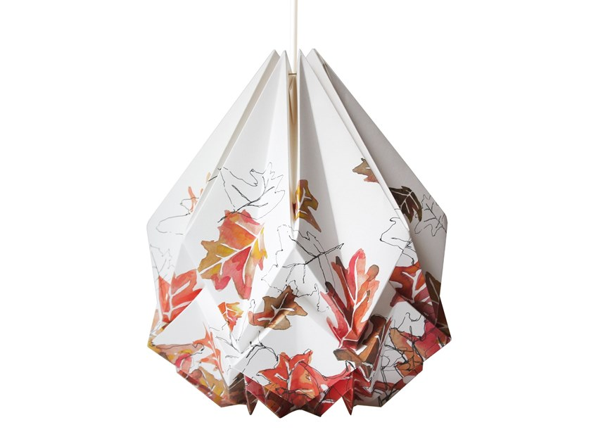 Handmade paper pendant lamp HANAHI AUTUMN PATTERN by Tedzukuri Atelier
