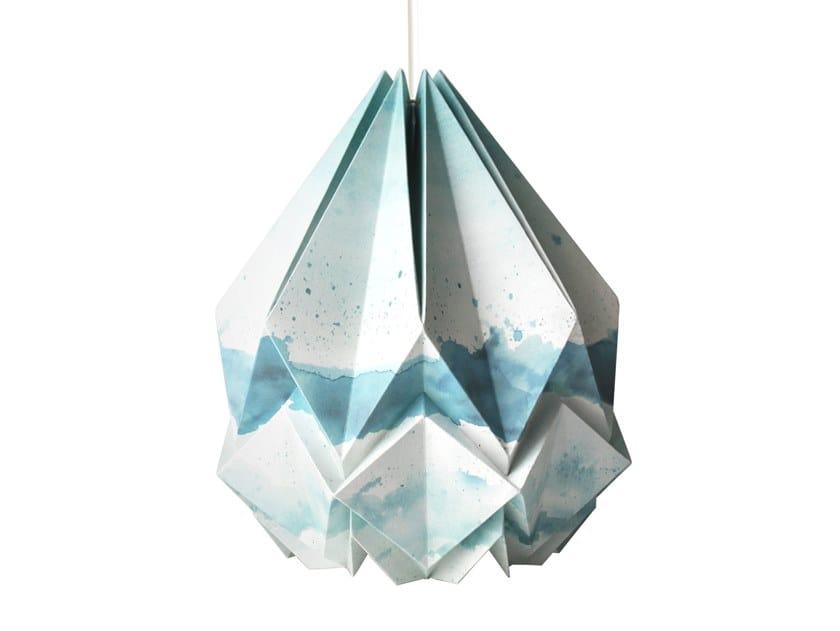 Handmade paper pendant lamp HANAHI SUMMER PATTERN by Tedzukuri Atelier