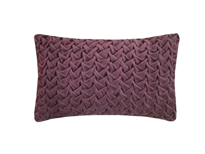 Rectangular hand embroidered cushion HAND STICHED LARGE WAVE EGGPLANT by Nitin Goyal London