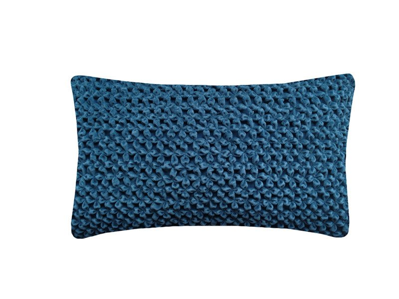 Rectangular hand embroidered cushion HAND STITCHED FLOWER TEAL by Nitin Goyal London
