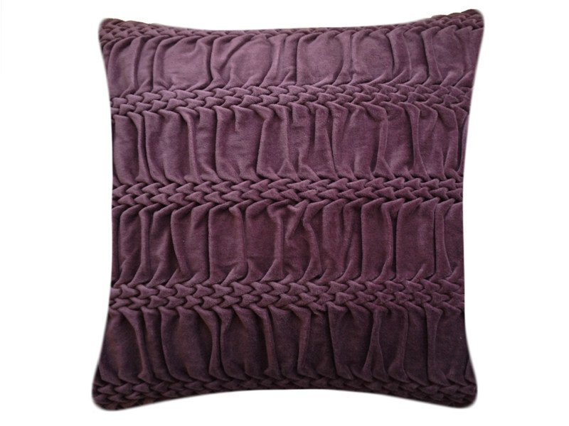 Square hand embroidered cushion HAND STITCHED STRIPED WAVE EGGPLANT by Nitin Goyal London