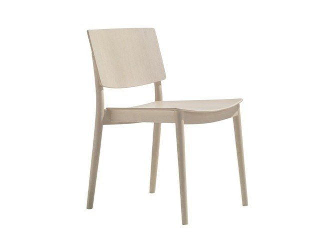 Stackable wooden chair HAPPY SI0374 by Andreu World
